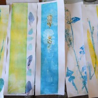 Printmaking in the garden with a home made press!