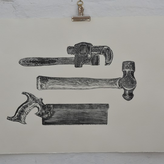 Detail of vintage hand tools linocut, copyright Alison Sloggett