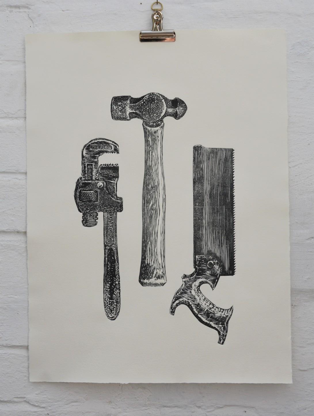 Vintage hand tools linocut. copyright Alison Sloggett